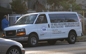 A van for VIP Outpatient Treatment Center parks in front of the Faith Manor board-and-care home for the mentally disabled in Los Angeles. On a recent day, a few residents got in for an hour's ride in traffic to the suburb of Northridge. There, they collected steak-and-cheese burritos and coffee as they signed in for group sessions.