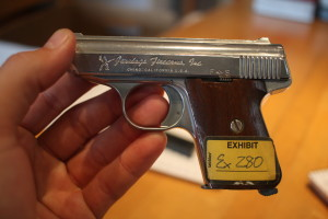 Attorney Richard Ruggieri is planning to destroy this Jennings Firearms Model J-22 handgun, along with other guns used in his lawsuit against Bryco Arms.