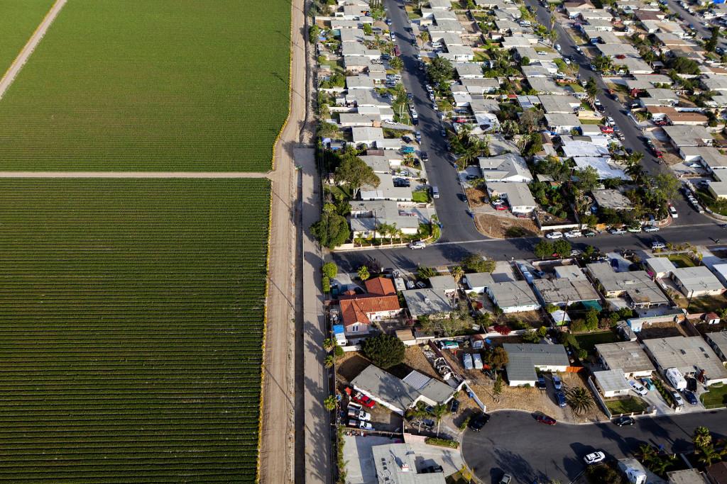 Vastos campos de fresas corren a lo largo de un vecindario residencial en Oxnard, California.