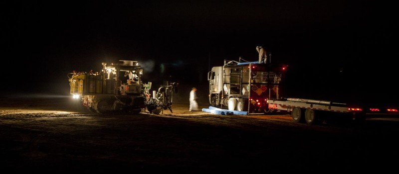 Farmworkers apply the fumigant 1,3-Dichloropropene to a field in Salinas, Calif.