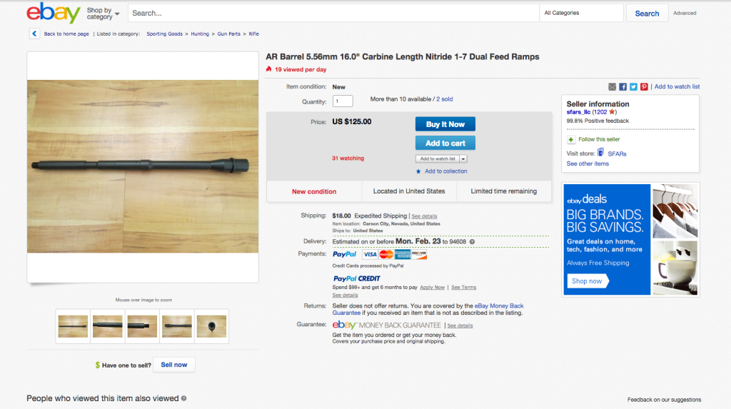 An eBay representative confirmed that the company had suspended the account of Nevada-based seller sfars_llc on March 11, the same day that Reveal disclosed that the company was selling this AR-15 barrel.