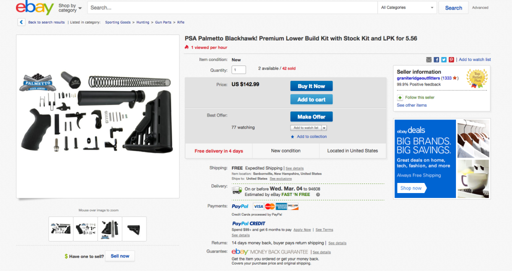"EBay policy bans the sale of ""parts or accessories for assault weapons,"" but Reveal identified hundreds of parts available in an extensive search of listings."