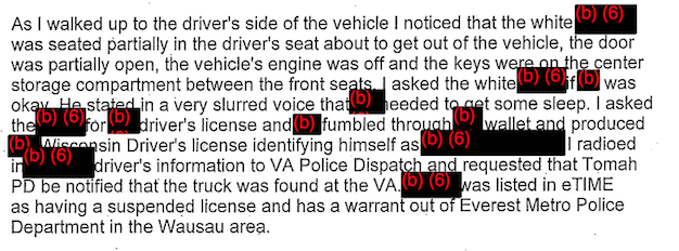In December 2013, police arrested Damien Ehlert for selling oxycodone in front of the Tomah VA's drug treatment ward. His arrest is detailed in one of approximately 700 pages of heavily redacted VA police reports that were obtained by CIR under the Freedom of Information Act.