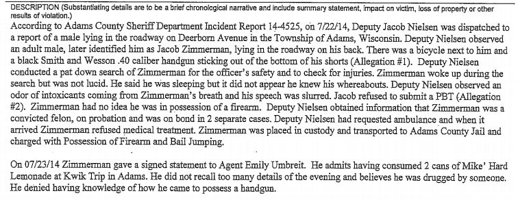 On July 22, 2014, police in Adams, Wisconsin, found Iraq War veteran Jacob Zimmerman passed out in the street with a .40-caliber Smith & Wesson in his pants. Five months earlier, he had pleaded guilty to stealing from an elderly dairy farmer on the grounds of the Tomah VA hospital.