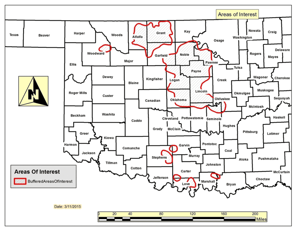"The Oklahoma Corporation Commission has greatly expanded it seismic ""areas of interest"" that trigger additional requirements for wastewater disposal wells. This new map includes larger swaths of the state's oil and gas drilling areas."