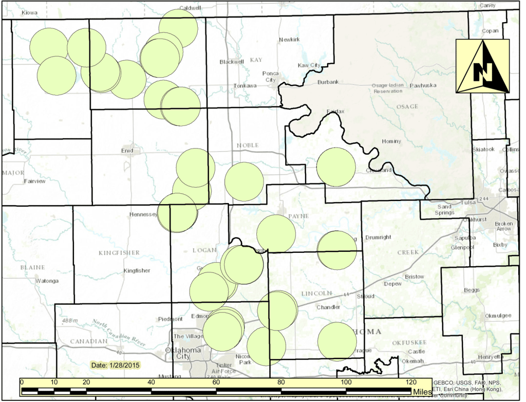 "The Oklahoma Corporation Commission has greatly expanded it seismic ""areas of interest"" that trigger additional requirements for wastewater disposal wells for oil and gas drilling. This old map from January shows areas within 6 miles of magnitude 4.0 quakes."