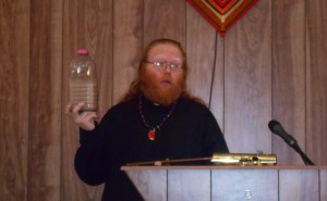 Adam Daniels, seen speaking at a lecture in Arlington, Texas, is the leader of the satanic Church of Ahriman in Oklahoma.
