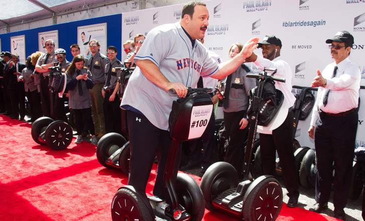 Kevin James Arrives On A Segway At The Premiere Of Paul Blart Mall Cop 2 Saturday In New York Role Bumbling Security Guard Has Become