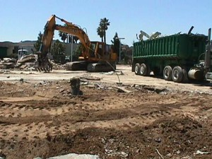 The old Sunset Honda dealership in San Luis Obispo is torn down after being damaged by subsidence.