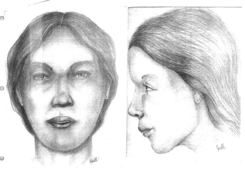 "Police sketches of ""Blue Earth Jane Doe,"" who was discovered to be Michelle Busha."