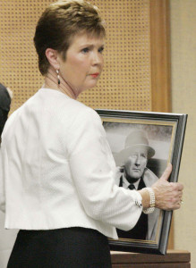 Jane Spillane – shown holding a photo of her late husband, detective novelist Mickey Spillane, before his memorial service in 2006 – donated $286 to Trump in August.