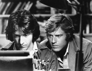 "Dustin Hoffman (left) and Robert Redford star as Carl Bernstein and Bob Woodward, respectively, in ""All the President's Men."""