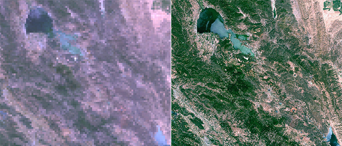 MODIS (left) vs Landsat (right) image of fire area