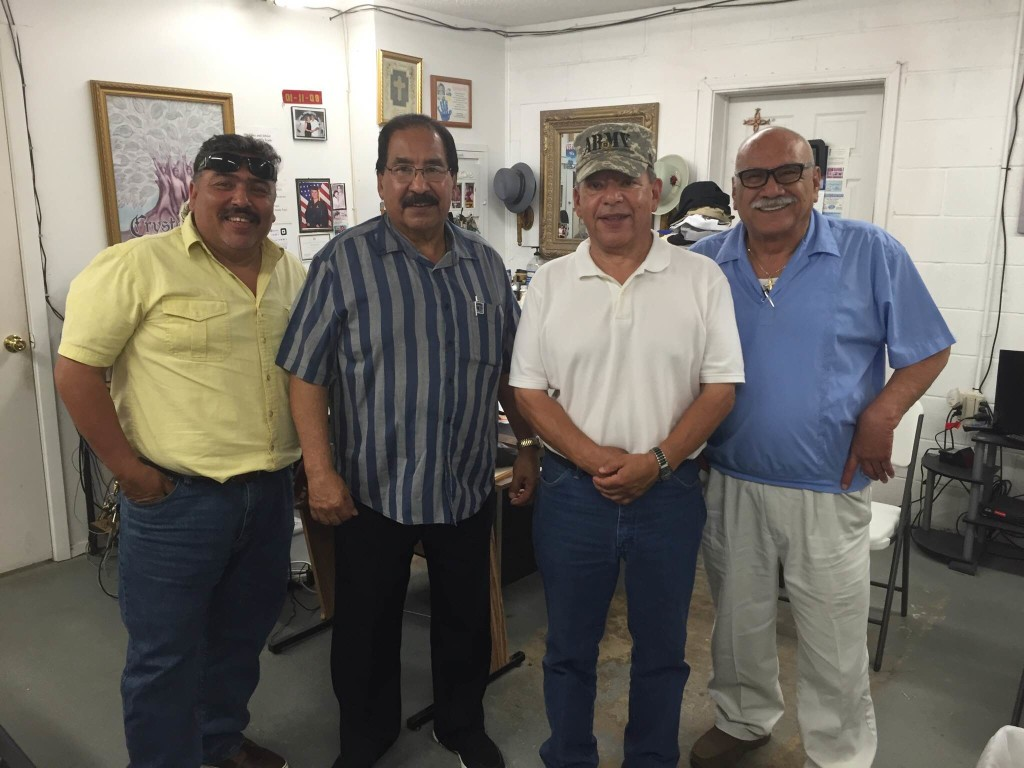 "A meeting of the ""four C's:"" The Concerned Citizens for Crystal City. From left are city council member Joel Barajas, former Mayor Jose Mata, recently elected Mayor Frank Moreno and Richard Diaz."