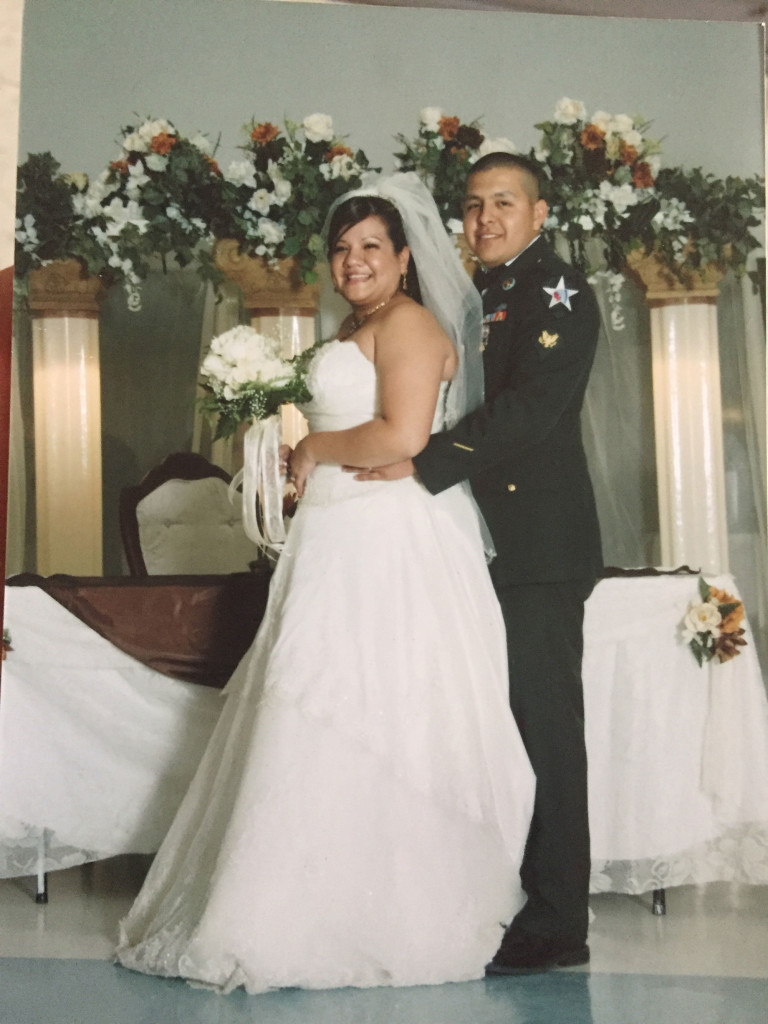 Dulce and Joel Luna are shown on their wedding day.