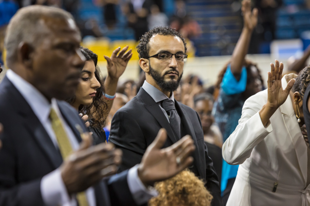 "Abdullah Muflahi, the owner of Triple S convenience store where Alton Sterling was killed by police, and friend of Alton Sterling at Alton Sterling's funeral. Muflahi is suing the Baton Rouge police for their treament of him, following the killing of Alton Sterling. Muflahi, urged the audience to ""love like Alton did."""