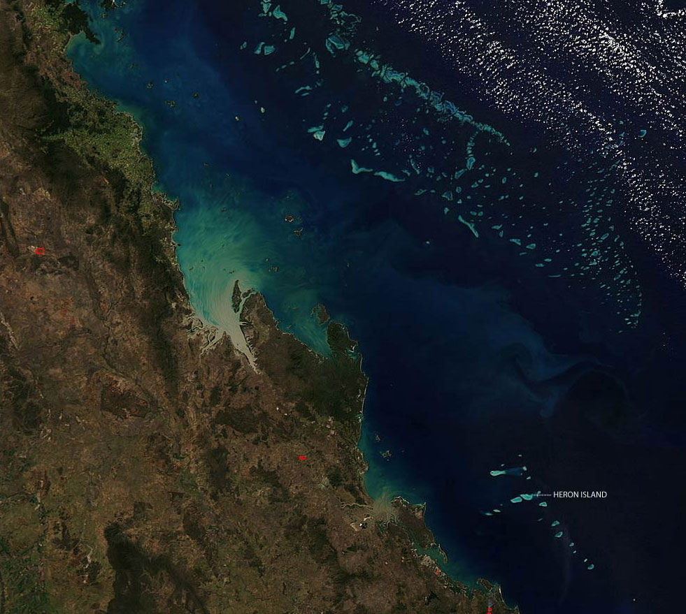 This MODIS image shows the location of coral bleaching at Heron Island within the Capricorn Bunker Group of Great Barrier Reef.