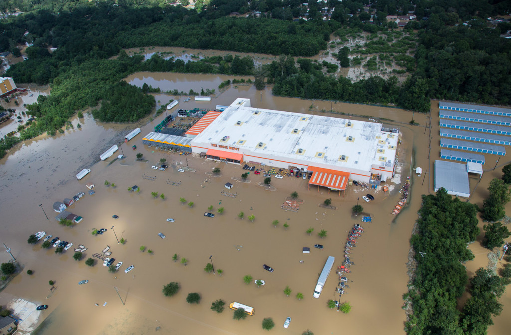 A Home Depot in Livingston Parish, Baton Rouge, is submerged on Aug. 15 after record-breaking flooding caused by more than 2 feet of rain over 48 hours.