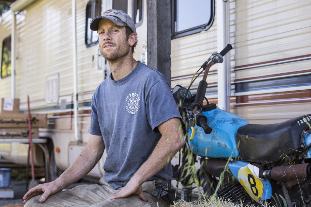Cedar McCulloch-Clow, a goat farmer and volunteer firefighter, owns the property where Terri pitched her tent while doing trim work in Petrolia, Calif.