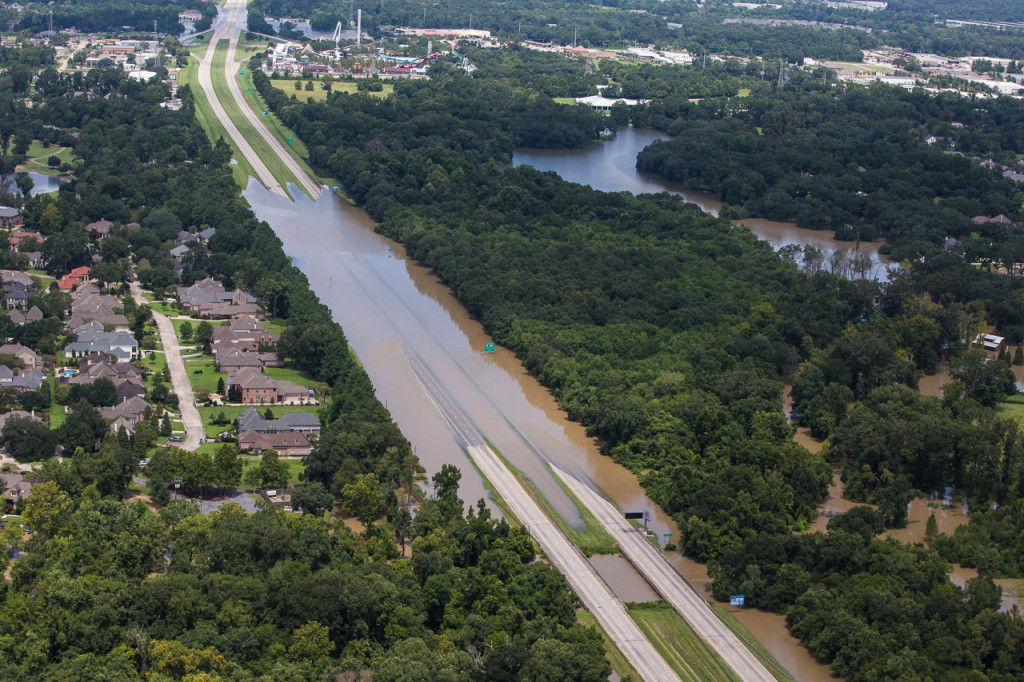 Floodwaters make Interstate 10 impassable on Aug. 15. The highway, which connects Baton Rouge to New Orleans, was closed in the days following the storm.