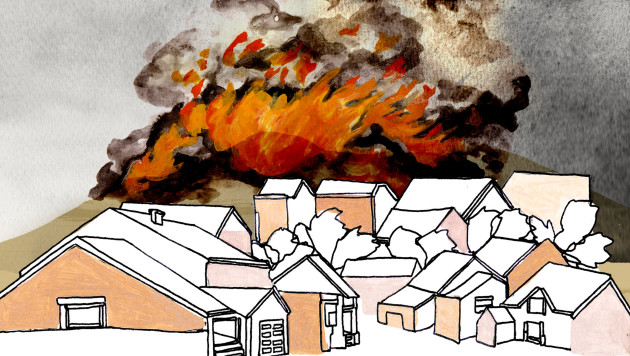 An illustration shows a neighborhood of homes with a raging fire in the background.
