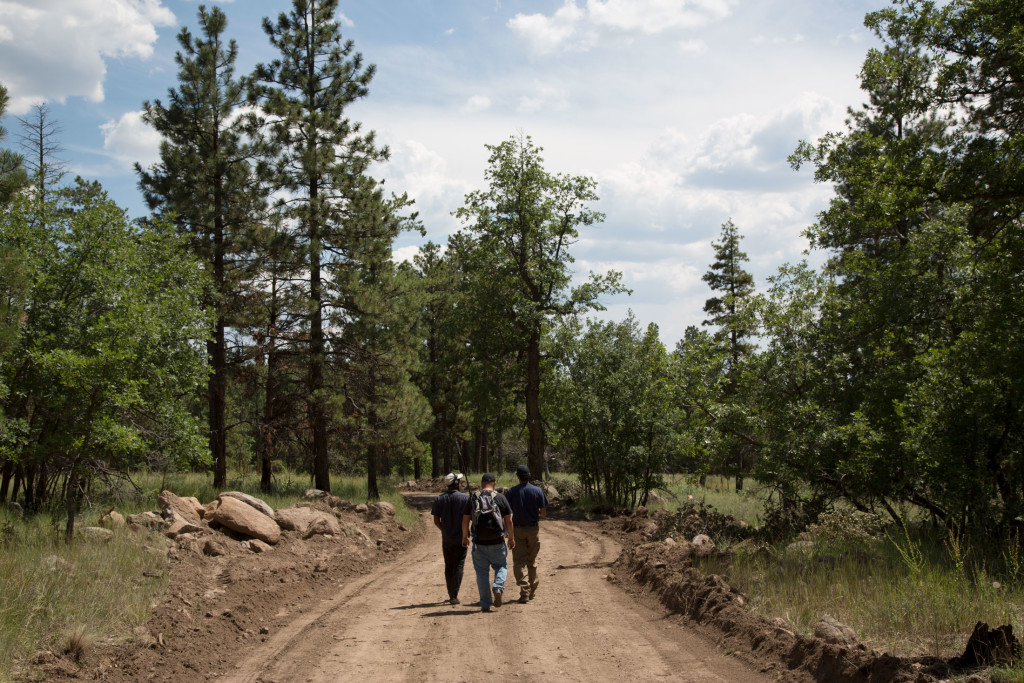 Matt Millar (right), a program director for the Flagstaff, Arizona, fire department, tells Reveal reporters Eric Sagara (center) and Ike Sriskandarajah about the $10 million bond Flagstaff residents passed in 2012. The bond has funded tree-thinning projects in the ponderosa forest that surrounds the city.