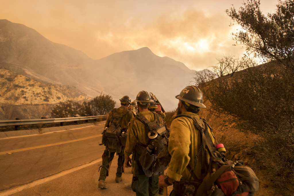 Firefighters were in the thick of battle with the Sand Fire – which raged in late July through the Santa Clarita Valley, north of Los Angeles – when Reveal arrived at the scene. Before it was contained, the Sand Fire burned more than 40,000 acres, destroyed 18 structures and killed one person.Credit: Stuart Palley for Reveal
