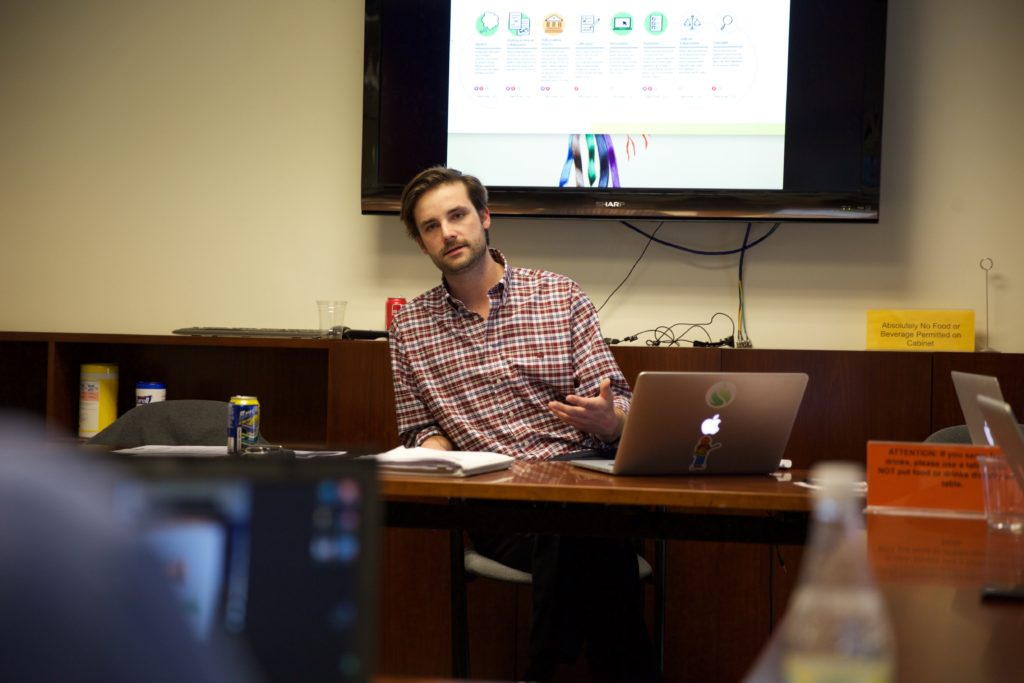 Seamus Kraft, shown at a workshop at Harvard's Kennedy School of Government, is the co-founder of the OpenGov Foundation. The foundation has been building software to give to state and local governments for free to build systems that make data, documents, codes and laws available to the public.