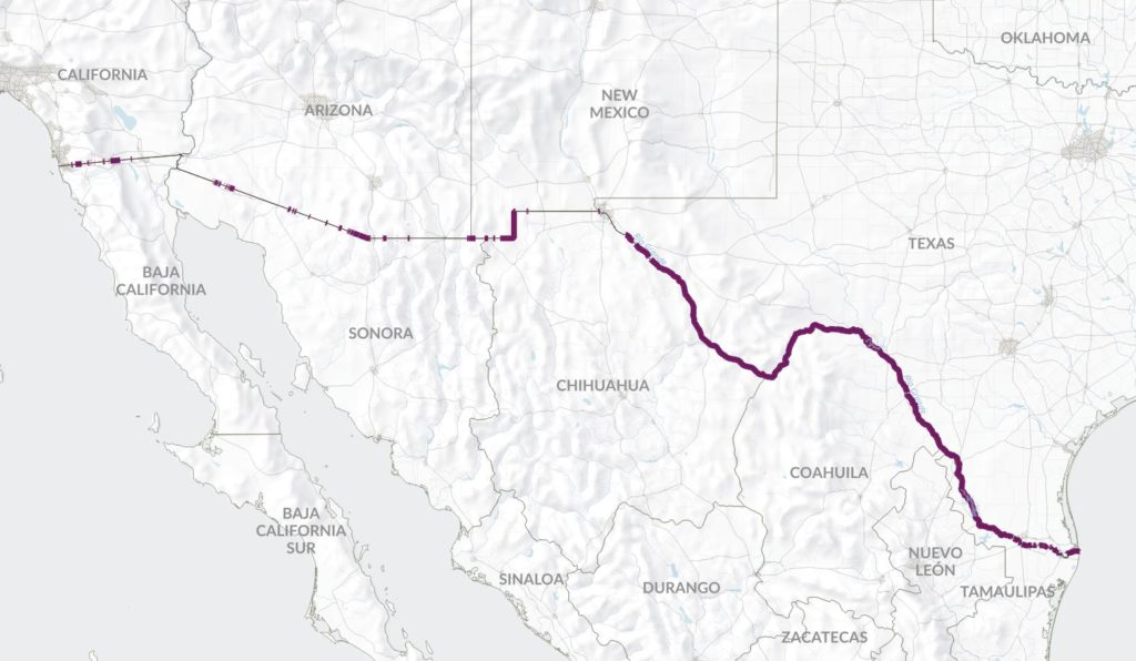 The 1,288 miles along the U.S.-Mexico border with no fence are outlined in purple.