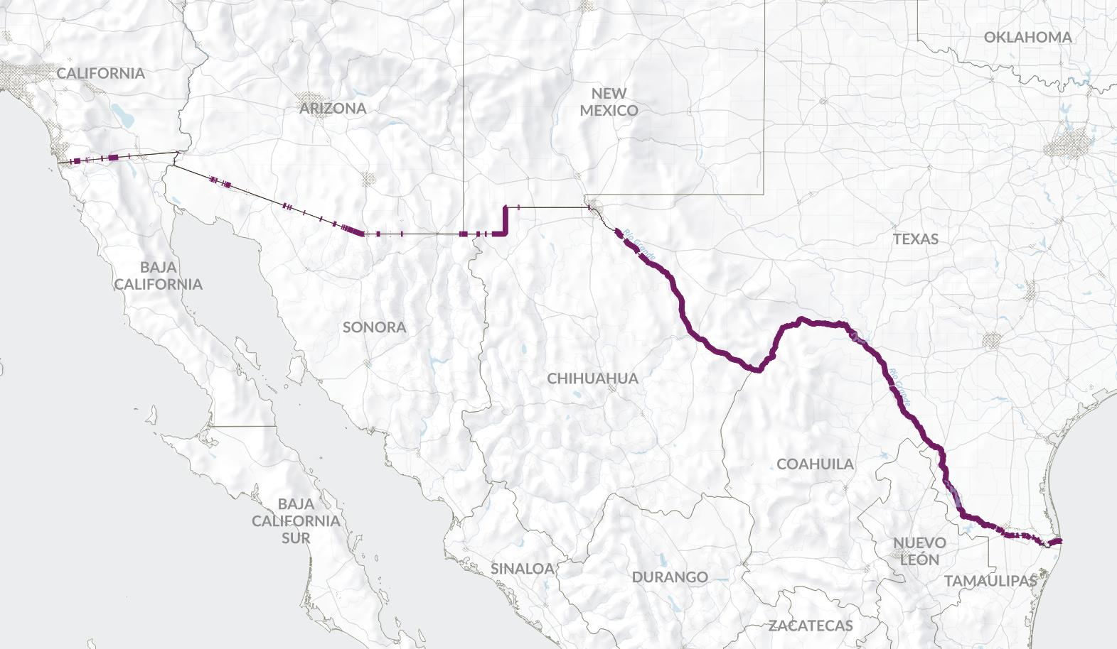 The 1 288 Miles Along The U S Mexico Border With No Fence Are Outlined In Purple