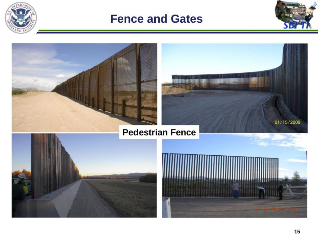 Examples of pedestrian fence along the U.S.-Mexico border.