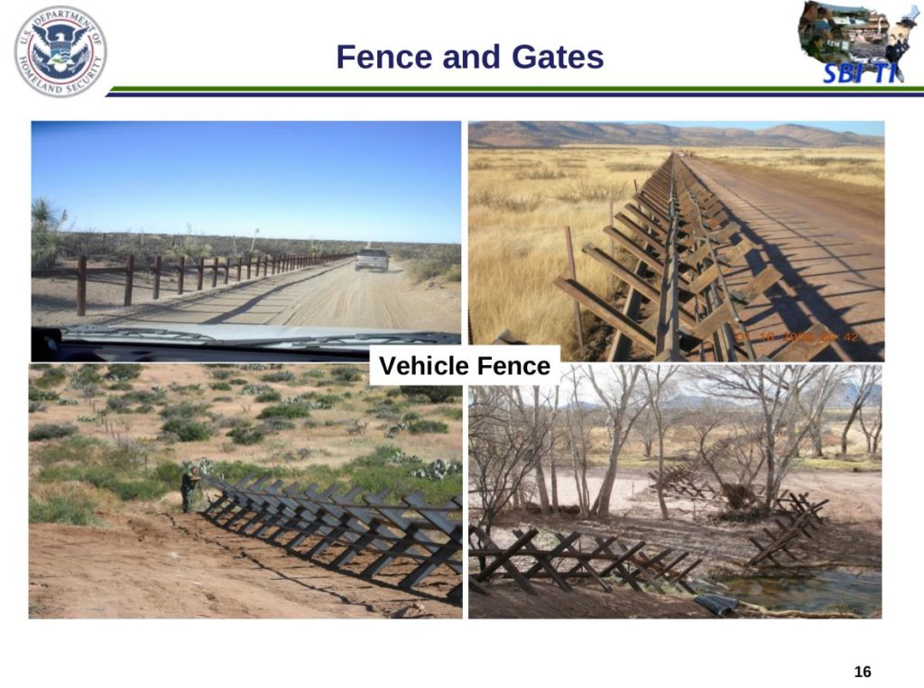 Examples of vehicle fence on the U.S.-Mexico border.