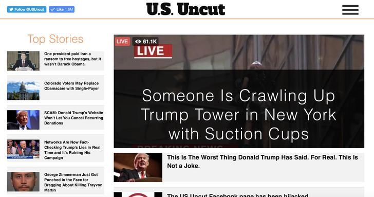 The front page of usuncut.com as it appeared Aug. 12, 2016.