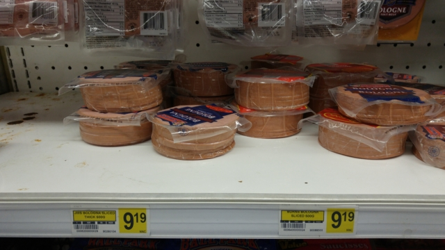 This bologna, on the shelf of the Inukjuak Co-op store in October 2016, costs nearly ten dollars. Everything locals cannot make or supply for themselves here must be shipped by tanker from the south.