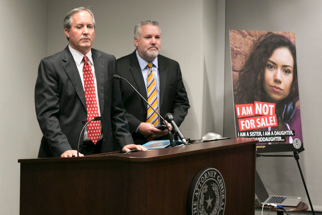 """Texas Attorney General Ken Paxton called sex trafficking """"one of the most heinous crimes facing our society"""" at a recent press conference. Estimates suggest there are 79,000 child victims of sex trafficking in Texas. Marjorie"""