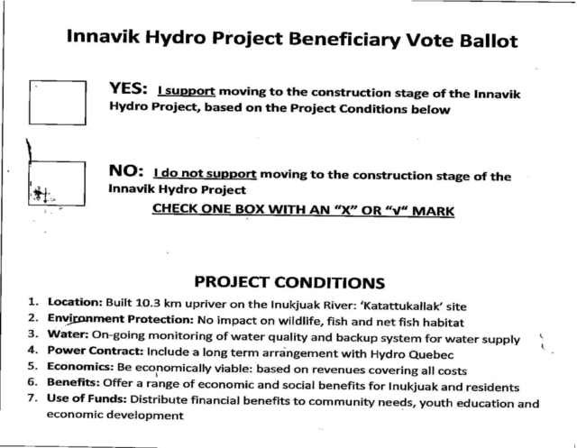 A ballot from the 2010 community referendum on the fate of the hydro project. Eighty-three per cent voted in favour of moving forward with the project.