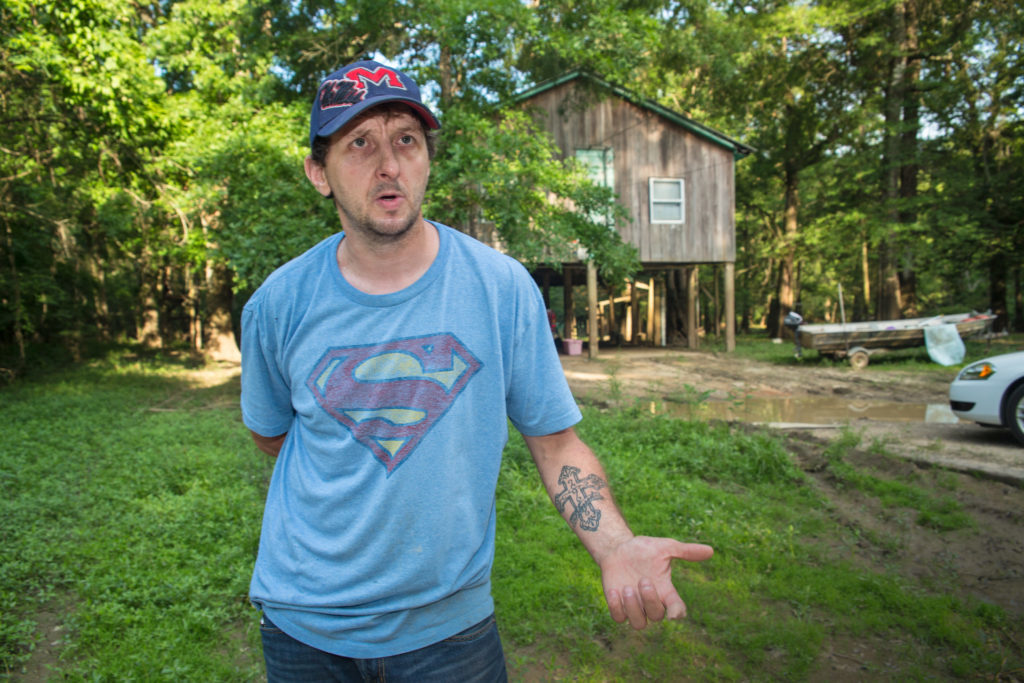 Bram Ates talks outside his Lucedale, Mississippi, home about the shipyard explosion that killed two co-workers and burned half of his body.