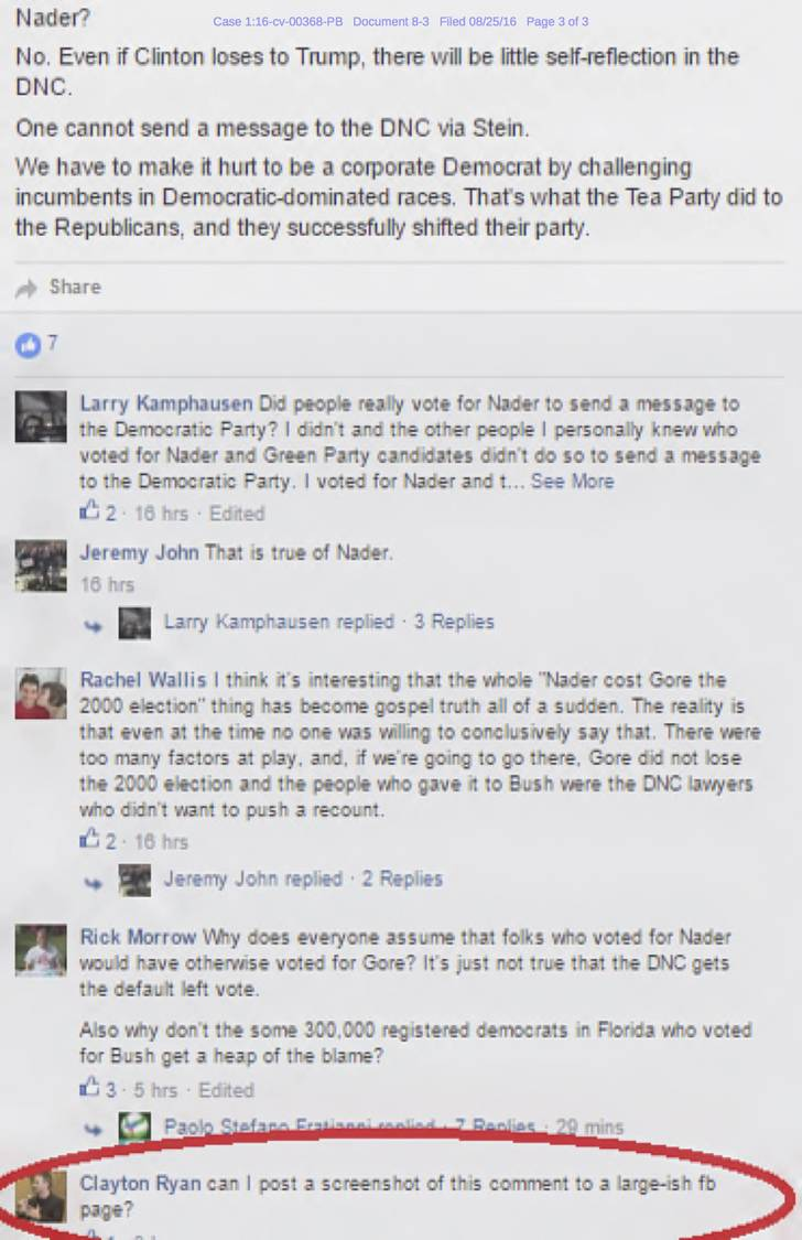 "A screenshot of a Facebook conversation shows Ryan Clayton asking to post a copy to ""a large-ish fb page."""