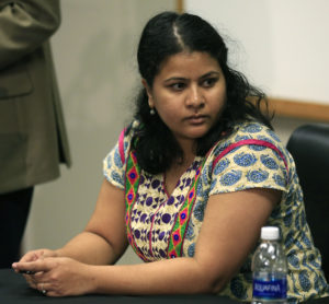 Sunayana Dumala sits at a news conference. (AP Photo/Orlin Wagner)