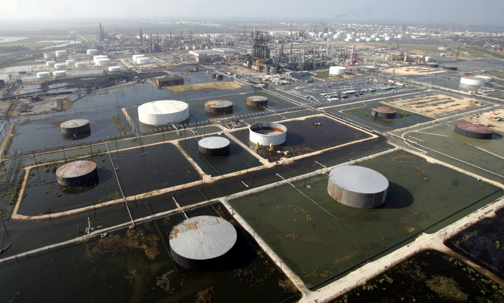 A Port Arthur, Texas, petrochemical facility is covered in floodwaters in the aftermath of Hurricane Rita.