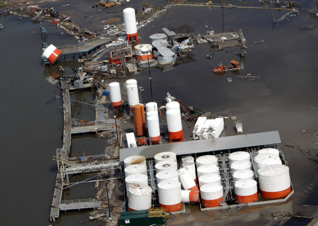 A Louisiana oil storage facility is left flooded and damaged by Hurricane Rita in 2005.