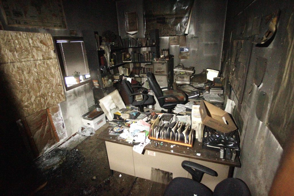A firebomb was thrown into this office at the Salman Alfarisi Islamic Center in Corvallis, Ore., on Nov. 28, 2010, two days after a young Muslim man who had frequented the center was caught in an FBI sting trying to blow up a Christmas tree lighting in Portland.