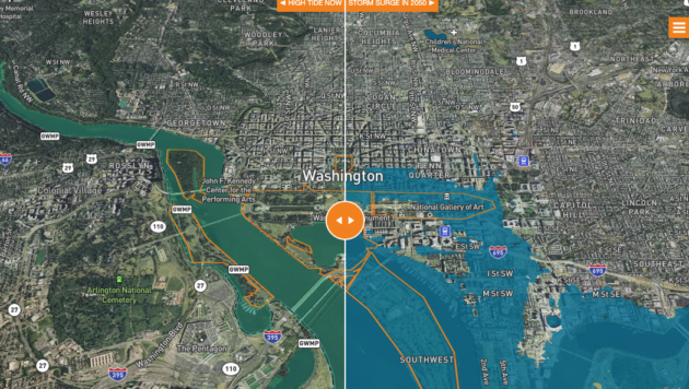 A visual too that gives estimates of flooding risk at selected parks using a before and after toggle slider.