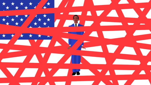 A man in a blue suit stands in the middle of an american flag made out of red rape
