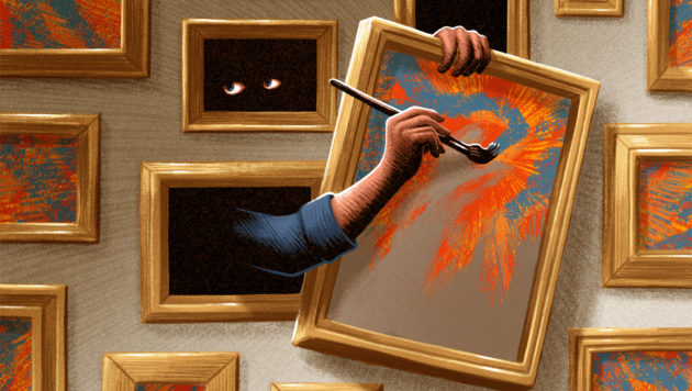 In an illustration, an anonymous hand reaches out of the wall of an art gallery and paints on a canvas.