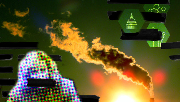 A photo collage shows an orange smokestack against a green sky. In the foreground is a woman speaking, but her mouth has been covered with a black censor bar.
