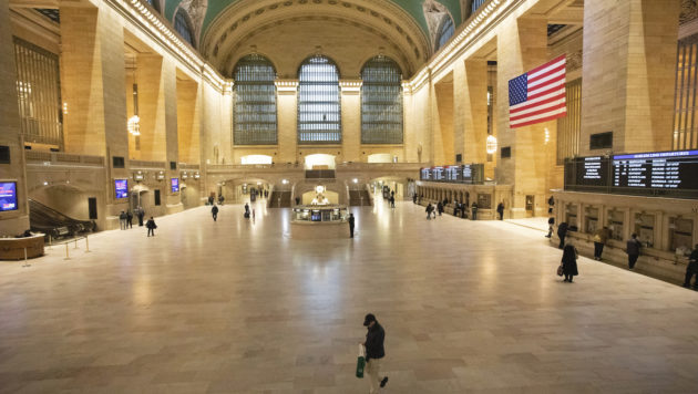Grand Central Terminal is nearly empty during the morning rush hour in New York.