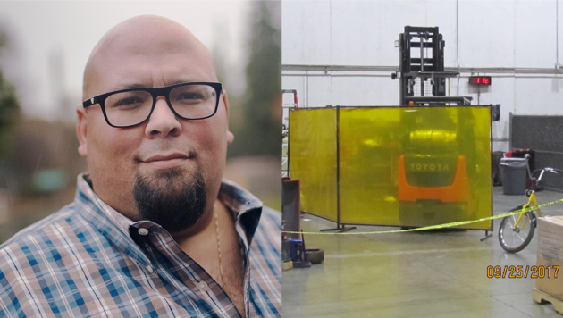 At left, a portrait of safety inspector John Stallone, who is a middle-aged man wearing a plaid shirt and glasses. He smiles slightly. At right: A photo of the forklift that killed an Amazon worker, dated 9/25/2017.