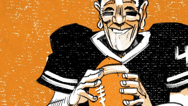 A black and orange illustration shows Ronald Reagan holding a football