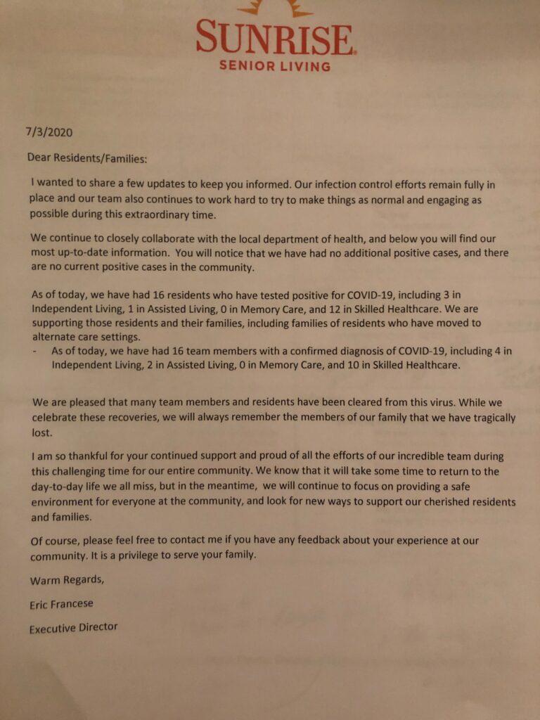 A letter on Sunrise Senior Living letterhead dated July 3, 2020.